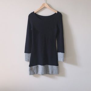 HostPick Navy Blue Grey Boat Neck Sweater Dress XS